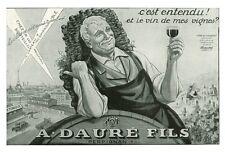 Publicité ancienne vins A. Dauré Fils Perpignan 1930 issue de magazine