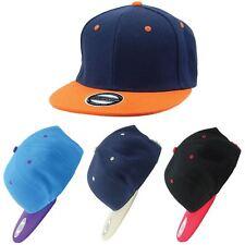 Cap Baseball Snapback Hat CONTRAST Adjustable Sun Hawkins Flat Peak BLUE RED