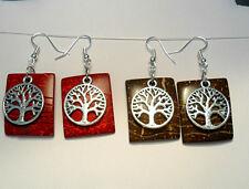 Dangle earrings -coconut shell, tree-of-life - 2 colours