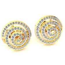 0.6ct Round Cut Not Enhanced Diamond Ladies Swirl Studs Earrings Solid 18K Gold