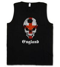 BLACK CLASSIC FOOTBALL SOCCER ENGLAND SKULL FLAG TANK TOP Fan Hooligan Banner UK