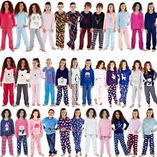 Girls/Boys Fleece Pyjamas Childrens Pyjama Set Kids PJs Age 2-13 Years