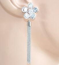 ORECCHINI ARGENTO donna cristalli strass pendenti cerimonia eleganti sposa E53