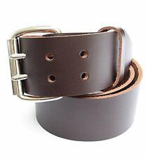 "Big & Tall Mens Heavy Duty Dark Chocolate Brown Leather Belt 2"" Wide Szs 46 - 72"