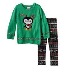 Toddler Girl Little Lass Christmas Sweater & Leggings Set Penguin Red Green