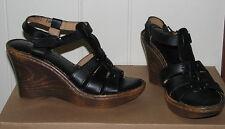 Lassen Women's Mighigan Black Leather Sandals SIZES! NIB NEW Wedge Platform