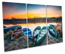 Frosty Lake Boats Sunset Picture TREBLE CANVAS WALL ART Print