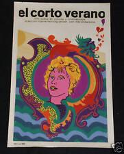 """1968 Original Cuban Movie Poster.Plakat.Affiche.affisch""""Short Summer""""Swedish"""