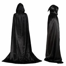 HALLOWEEN HOODED BLACK CAPE LONG CLOAK DRACULA FANCY DRESS COSTUME PARTY