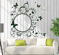 Vinyl Decal Wall Sticker Round Butterfly Frame Floral Pattern Studio Art (n745)