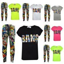 enfants filles Bang imprimé trendy Haut & stylisé mode ensemble legging 7-13 ans