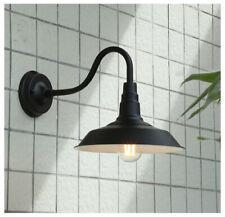 Vintage Metal Dome Shade 1 Light Outdoor Garden Garage Wall Light in Black/Brass