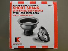 Kitchen Sink Short Shank Strainer Basket Assembly- Keeney Mfg.