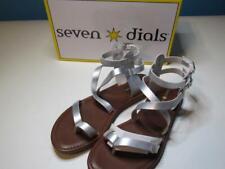 NIB Seven Dials Silver Flat Short Gladiator Sandal Strappy 085 095