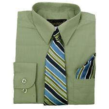 Infantil Verde Camisa con A Juego Corbata & Pañuelo Manga Larga Tallas 2t,