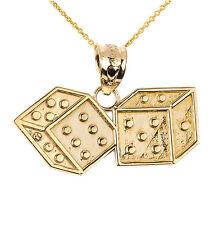 Fine 14k Yellow Gold DICE Pendant Necklace Gamble Casino Gambling