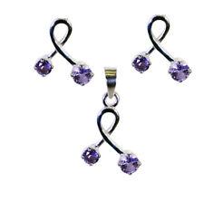 Captivating Amethyst 925 Sterling Silver Purple Pendant Set Natural Jewellery US