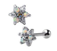 New Surgical Steel Rainbow Opal CZ Gem Cluster Flower Tragus Cartilage Bar Stud