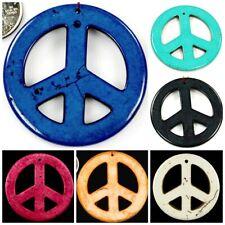 33mm 55mm Magnesite Turquoise Peace Pendant Bead Blue Black Blue Navy 1,5,10 pcs