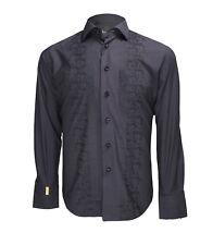 Billionaire Couture Men's Black Cotton Dress Shirt Paris C Fit Watch cuff