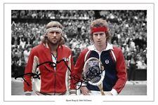 Bjorn Borg e John McEnroe Wimbledon TENNIS Autograph firmata stampa