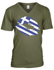 Greek Flag Colors Greece Lipstick Kiss Lips Heritage GRC GR Men's V-Neck T-Shirt