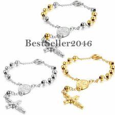 "Rosary Crucifix Jesus Cross Stainless Steel Bead Chain Men Women Bracelet 8.6"""
