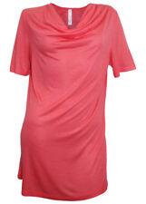 Damen Longshirt Wasserfall Shirt kurzarm Tunika Bluse koralle 387435