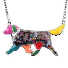 Enamel Alloy Golden Retriever Dog Necklace Pendant Collar Jewelry For Women Kid