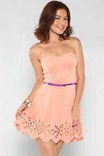 Belted Peach Laser Cut Dress