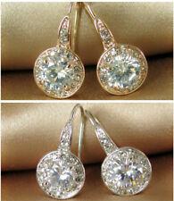 Wedding/Bridal/Bridesmaid/Earring/18K WGP/Simulated Diamond Round Drop/E071/N116