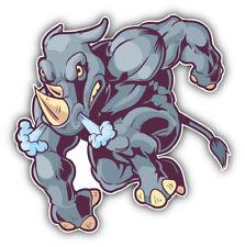Muscular Rhino Mascot Car Bumper Sticker Decal -  3'' or 5''