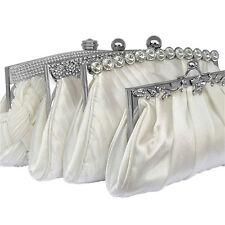 Satén color marfil Crystal Bolsa De Embrague Boda Prom fiesta Noche señoras Bolso Monedero