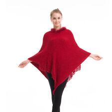 Lady Poncho Stole Cape Shrug Wrap Shawl Jumper Sweater Cloak Cardigan Fur Collar