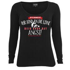 Frauen Damen Langarm Shirt Mein Hund hat Angst - Kind an Leine Hunde dogs Spruch