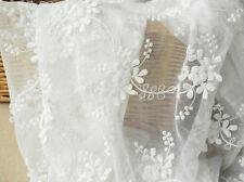 """Vintage 51"""" large blanc cassé à Cordon Broderie en dentelle de mariée tissu dentelle fleurie 0.5Y"""