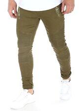 "Strappato Biker Jeans Skinny Slim Fit Cerniera Kaki Taglia 28"" - 32"""