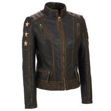 Women's Distressed Brown Cafe Racer Vintage Biker Leather Jacket