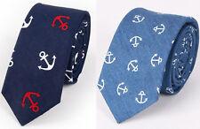 MEN Party Anchor Sailor Marine Blue Cotton Denim Formal Casual Neck tie Necktie