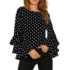Fashion Women's Bell Sleeve Loose Polka Dot Shirt Lady Blouse Tops Plus Size