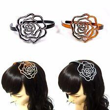 Large Crystal Rhinestone Flower Floral Plastic Headband Hairband Hair Jewelry
