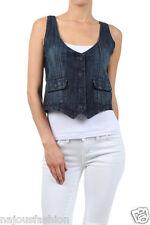 NWT Clash blue Jeans Denim Vest strech front pockets black back lining  S M L XL