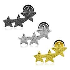 Fake Plug Helix Stern Star silber gold schwarz Edelstahl Piercing Ohrstecker