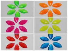 100 Neon Color Flatback Acrylic Horse Eye Rhinestone Gems 9X18mm Pick Your Color