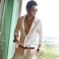Summer Men's Casual Long-sleeved Shirt Linen Ultra-Thin Tee Washed Button Tops