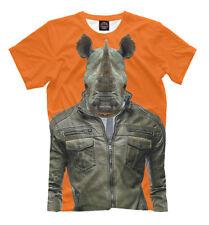 Rhino man tee - orange color t-shirt cool print tough guy bodybuilder rhinoceros