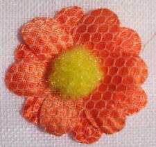 LOT de 3 APPLIQUES Fleur Pompon - Orangé  (35mm)