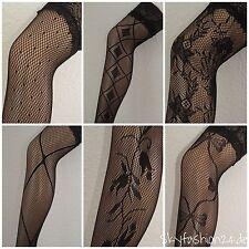 Halterlose  Strümpfe Stockings sexy  schwarz  Netzstrümpfe Overknees m.Motiv