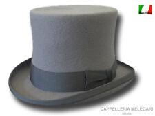 Cappello a cilindro lana merino extra Top Quality Nastro Grigio