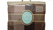 Check Design 100% Cotton Sofa / Bed Throw Natural Chocolate & Black